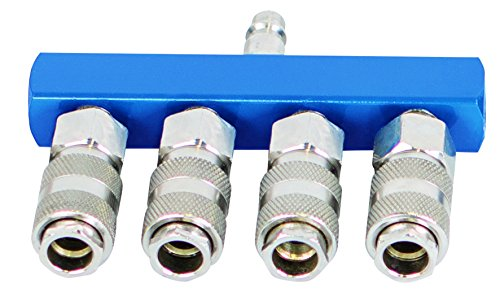 Scheppach Druckluftschnellkupplungen-Set, 4-Wege, 1 Stück, blau/silber, 7906100725 (Druckluft Verteiler)