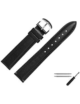 MARBURGER Uhrenarmband 18mm Leder Schwarz - Rindsleder - Inkl. Zubehör - Ersatzarmband, Schließe Silber - 2491810000120