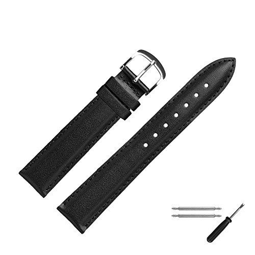 MARBURGER Uhrenarmband 18mm Leder Schwarz - Werkzeug Montage Set 2491810000120 (19 Mm Echt Leder Uhrenarmband)