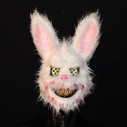 DWcamellia Masken für Erwachsene Kaninchen Maske, PVC plüschtier Maske, anonyme weiße Maske für Kinder Erwachsene (Tote Kaninchen Kostüm)