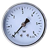 TS-60-6 - Mini manometro ad alta precisione 0-6 bar 1/4 manometro tester di pressione per carburante, aria, olio, liquidi e acqua