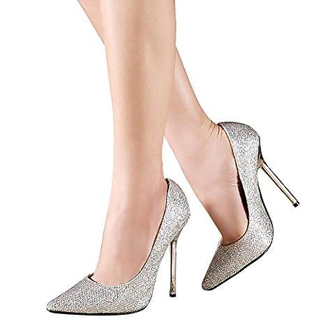 Verocara Women's Stiletto High Heels Shining Wedding Pump Shoes Silver 6 UK