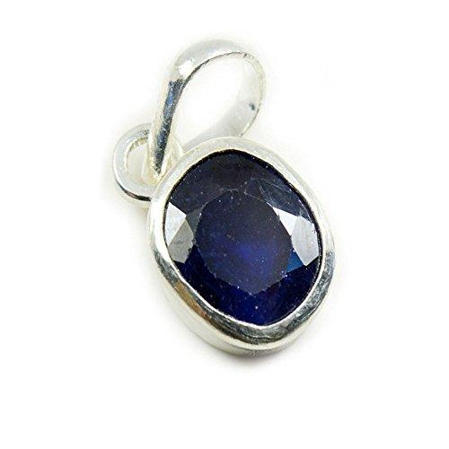 GemsOnClick Natur Saphir Blau Silber Anhänger 5Karat Edelstein Medaillon Schmuck September Geburtsstein Astro (Herren Blau Saphir Anhänger)