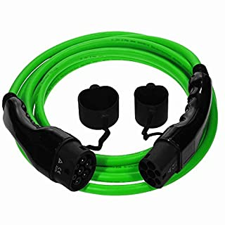 EV Cables Premium Euro Series Ladekabel Typ 2 bis Typ 2-32 amp | 5 Meter | 7.2kW - Grün mit Bonus Tragetasche (5 Jahre Garantie)