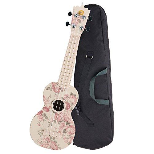 """Classic Cantabile BeachBuddy \""""Desert Rose\"""" Sopran Ukulele aus ABS Material mit Tasche (Uke, Hawaii Gitarre, PVC Kunststoff, Outdoor & Strand tauglich inkl. Tasche) leichtgängige Gitarren-Mechaniken, Outdoor & Strand tauglich)"""