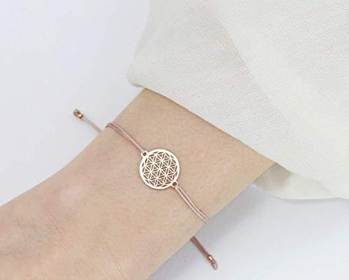 SCHOSCHON Damen Blume des Lebens Armband 925 Silber rosevergoldet - Nude // Geschenkideen Weihnachten Lebensblume Geschenk Mutter Schmuck personalisierbar