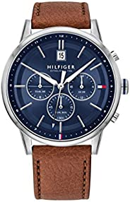 Tommy Hilfiger Men'S Blue Dial Light Brown Leather Watch - 179