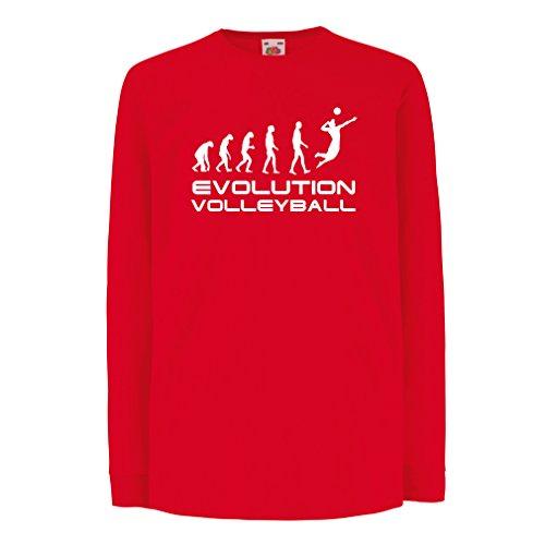 lepni.me Kinder-T-Shirt mit Langen Ärmeln Evolution Volleyball - Indoor, Outdoor, Strand Vball Bekleidung (7-8 Years Rot - Halloween-meme Australien