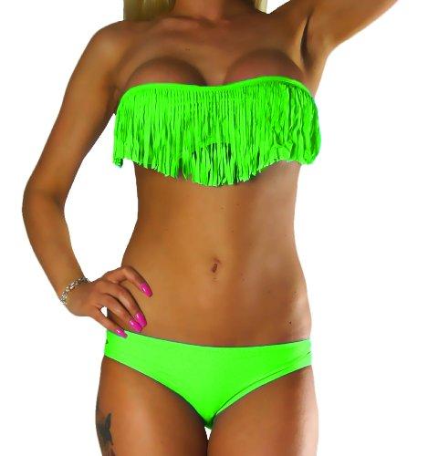 ALZORA Bikini Damen Tassel Fransen Fringe Push Up Set Top und Hose, 10200 (XS, Neongrün)