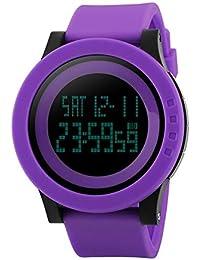 22ffd6bee98d FeiWen Deportivo Relojes de Mujer Digitales Electrónica LED Multifuncional  Plástico Bisel con Goma Correa Reloj de