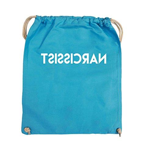 Comedy Bags - NARCISSIST - GESPIEGELT - Turnbeutel - 37x46cm - Farbe: Schwarz / Silber Hellblau / Weiss