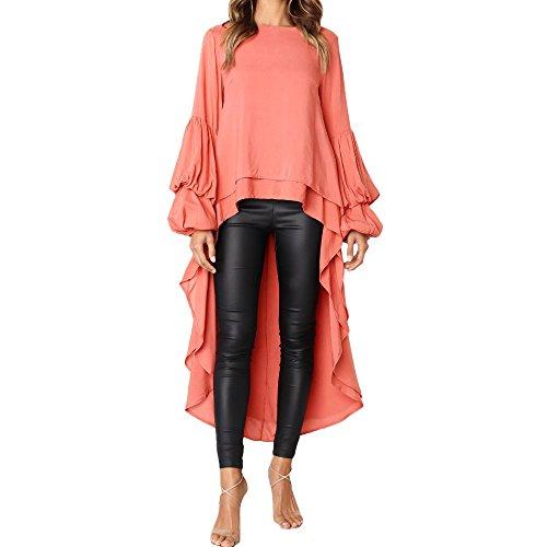 Geili Damen Mode Cool Lange Bluse Frauen Unregelmäßige Rüschen Hem Shirt Langarm Einfarbig Pullover Tops Party Blusen - Seiden-samt-party-kleid