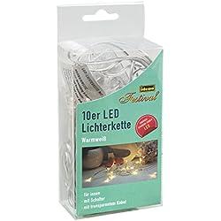 Idena LED Lichterkette Micro 10er, für Innen, Länge 2,40 m, warmweiß, 31116