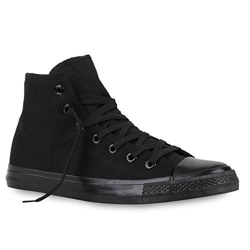 Herren Sneakers High Freizeit Denim Turnschuhe Sportliche Schuhe Total Schwarz