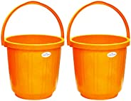 Princeware Super Delux Bucket Having Capacity of 05 Ltrs Each in Set of Two Available in Orange Colour