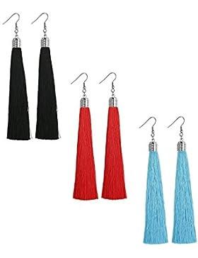 Sailimue 3 Paare Langer Tropfen Troddel Quasten Ohrring für Damen Frauen baumeln Ohrringe Schwarz / Blau / Rot...