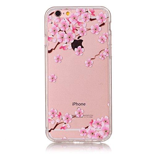iPhone 6S Plus Hülle, iPhone 6 Plus Hülle,SainCat iPhone 6 Plus/6S Plus Silikon Hülle Transparent Handyhülle Muster Gel Schutzhülle [Kratzfeste, Scratch-Resistant] Ultra Slim Dünn Weichem Handytasche  Plum Blume#