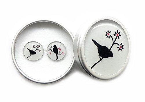 Mode romantische 925 Sterling Silber Ohrstecker Frauen Damen Mädchen Geburtstag Geschenke mit Schmuckschatulle - Weiße und schwarze Vögel