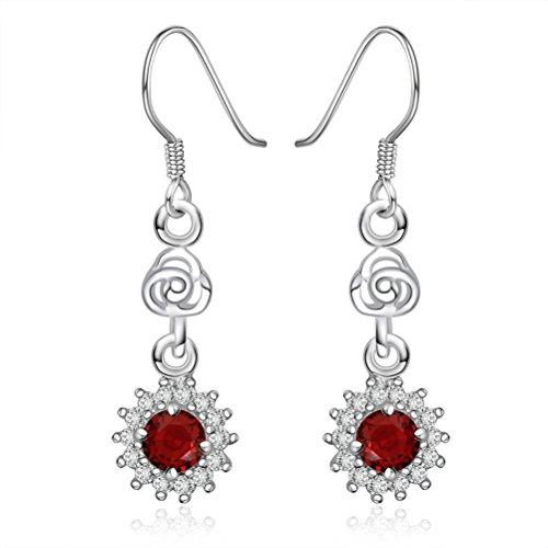 SunIfSnow donna, motivo: girasole, colore: rosso brillante con strass per orecchini - Orecchini Strass Clip Ons