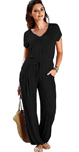 ALAIX Abiti Fashion da donna tuta con coulisse in vita Black Medium