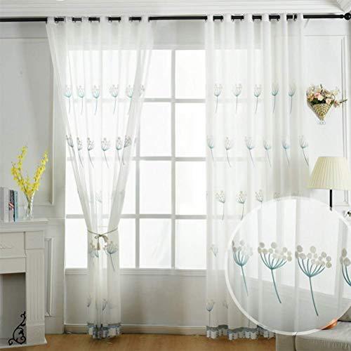 Weiß Tüll Blumenmuster Handstickerei Transparent Voile Vorhänge Mit Ösen Geeignet Für Wohnzimmer Schlafzimmer 150 * 280Cm,250 * 280