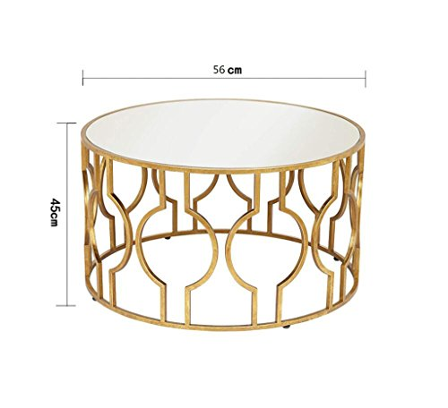 Buy SFBZ Small Side Table Iron Tempered Glass Modern Simple Creative Small Round Table Living Room Sofa Side Small Coffee Table Coffee Table end tables on Line