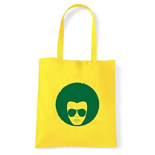 Art T-shirt, Borsa Shoulder faccia-anni-70 Giallo