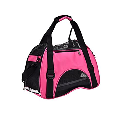 Pet Carrier for Dogs and Cats, Portable Airline Approved Under Seat Soft-sided Travel Pet Bags, Pink (16 * 8 * 12
