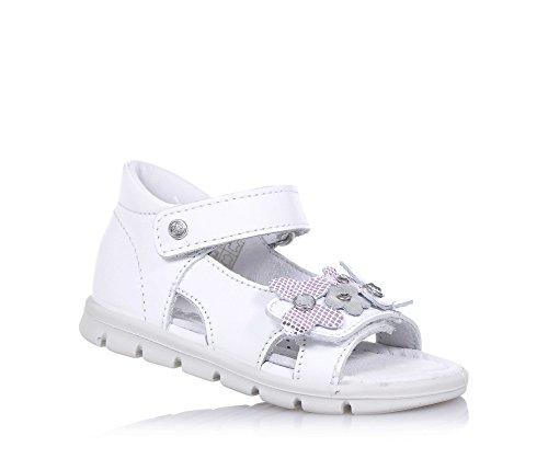 FALCOTTO - Sandalo bianco in pelle, ideale per il primo passo e per il gattonamento, con chiusura a strappo laterale, Bambina, Ragazza-26