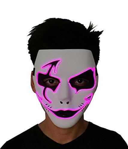 2018Halloween Horror Light Up Clown Maske–Scary Maske Halloween Cosplay LED Kostüm EL Draht Maske ()