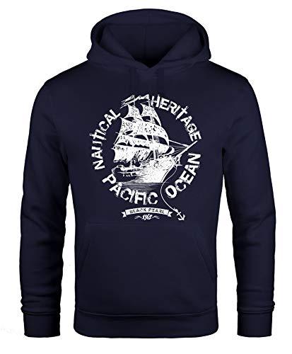 Neverless Hoodie Herren Segel Schiff Black Pearl Kapuzen-Pullover Männer Navy XL