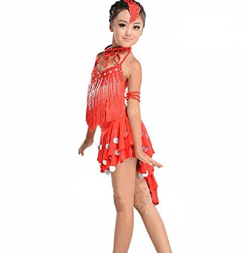 Byjia Mädchen Tassel Pailletten Praxis Kleid Kinder Latin Tanz Kostüme Teen Kids Bühne Aufführungen Gruppe Match Kleidung Red 130Cm (Teen Gruppe Kostüm)