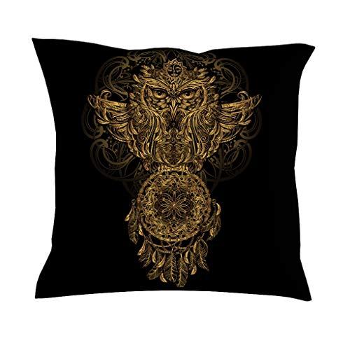QVOOD - Funda de cojín con diseño de búho y atrapasueños, para sofá, sofá, Coche, Dormitorio, decoración del hogar, Blanco, 45 x 45 cm