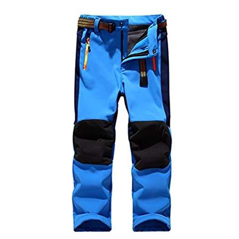 Kinder Softshellhose mit Fleecefütterung Wasserdicht Winddicht Atmungsaktiv Warm Funktionshose Skihose Regenhose Jungen Mädchen Sporthose Wanderhose Blau XL