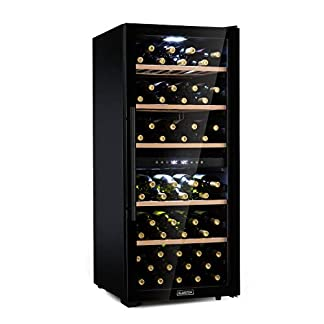 Klarstein-Barossa-102D-Black-Edition-Weinkhlschrank-mit-2-Khlzonen-fr-bis-zu-102-Flaschen-Panorama-Fronttr-aus-Sicherheitsglas-LCD-Anzeige-herausnehmbaren-Holzeinschbe-Touch-LED-schwarz