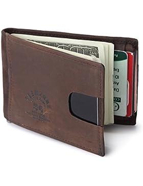 Teemzone Cartera Hombre RFID Proteger la Privacidad Personal Billetera de Piel Tarjertero Clip de Dinero