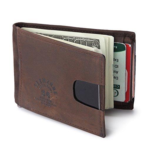 Teemzone RFID Tarjertero Cartera Hombre Billetero Piel Clip de Dinero Proteger la...
