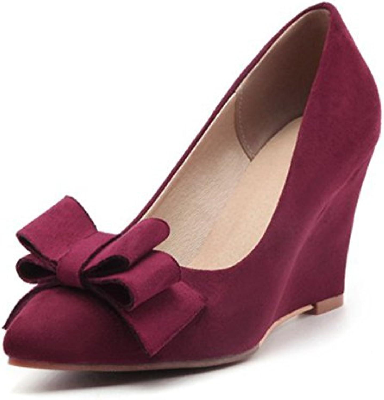 a5c8ce7de3d Aisun Women s Elegant Bows Pointed Toe High High High Wedge Heel Court Shoes  B073S7H4B5 Parent 394b8a