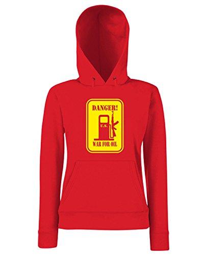 T-Shirtshock - Sweats a capuche Femme T0822 danger US war for oil militari Rouge