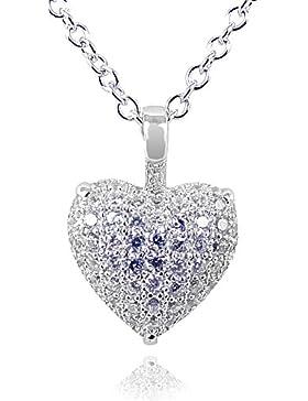 Kette Herz Love 925 Sterling Silber Zirkonia Halskette von NOBEL SCHMUCK - Made in Germany