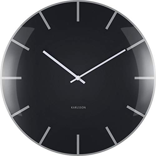 Karlsson Dome Uhr, Wanduhr, Glas, Schwarz, One Size