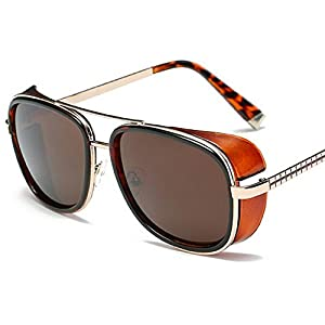 U.S. CROWN Tony Stark Iron Man Steampunk Unisex Sunglasses for Men and Women with Case