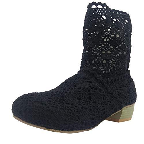 Knie Lange Boot (Damen Stiefel Schuhe Spitze Hohlstiefel Crochet Aushöhlen Chunky Flache Stickerei Schlupfstiefel Fersen Knie Leichte Stiefeletten Mid-Calf Boots Sommerstiefel für Kleid (EU:37, Schwarz))