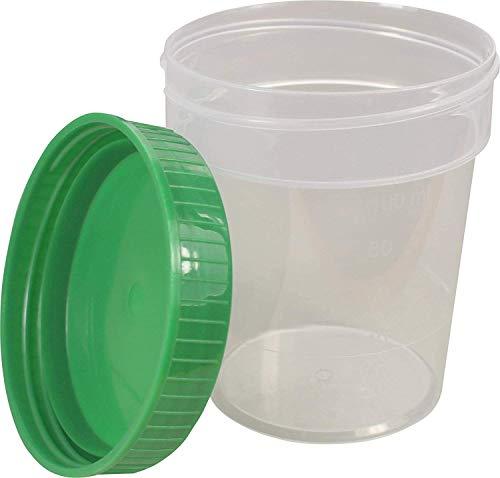 Urinbecher Premium Grün 100 Stück | 125 ml Fassungsvermögen bis 100 ml graduiert | auslaufsicherer und gefriertauglicher Urinprobenbecher mit Schraubdeckel | mattiertes Schriftfeld auf dem Becher