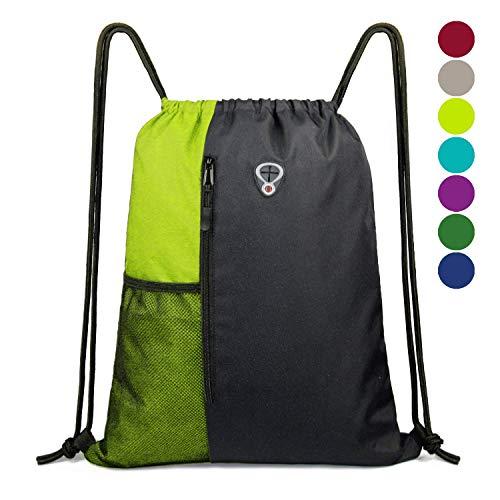 Rucksack Beutel Hipster Turnbeutel mit Reißverschluss & Taschen, Drawstring Bag Gym Sack für Frau Mann, Schwarz Lime Strandtasche Schwimmsack für Teenager, Sportbeutel -