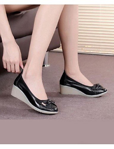 WSS 2016 Chaussures Femme-Habillé / Décontracté-Noir / Blanc-Talon Compensé-Compensées / Bout Arrondi-Talons-Cuir black-us6 / eu36 / uk4 / cn36