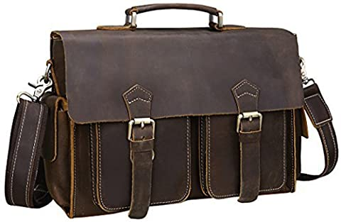 Iswee Leather Flapover Tote Briefcase Messenger Bag 13.3' Inch Laptop Macbook Cases for Men