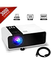 Jimwey Mini Projector, 1080P HD Supported 3000 Lux Portable Video Projector, Compatible with TV Stick, HDMI, USB , AV, DVD, for Multimedia Home Theater, Built-in Dual Speaker, Four Display Mode