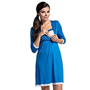 Zeta-Ville-Premam-CamisnBata-Pijama-Mezcla-Y-COMBINA-para-Mujer-591c-Camisn-Turquesa-EU-44-2XL