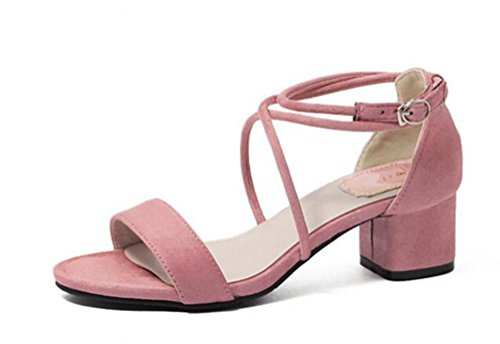 Cross-scrub-top (OL Sweet Cross Straps Sandalen Scrub Gürtel Dekoration Chunky High Heel Open Toe Hollow Casual Frauen Schuhe EU Größe 35-39 , pink , 36)